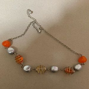 Orange And Silver Beaded Necklace
